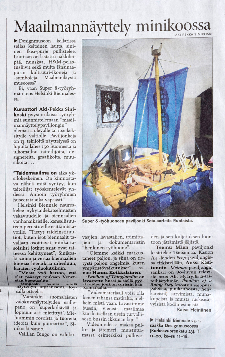 Helsingin Sanomat article about Helsinki Biennale curated and arranged by Aki-Pekka Sinikoski at Design Museum in Helsinki